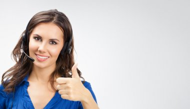 Support phone operator with thumbs up gesture