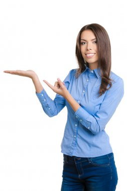 Businesswoman showing something or holding, on white