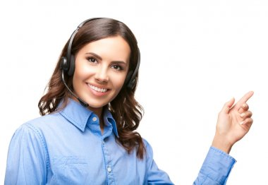 Support phone operator pointing, over white