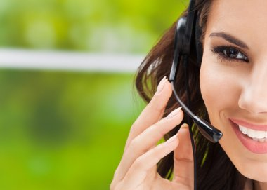 Support phone operator in headset, with copyspace