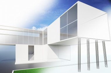 Exterior of a modern house plan, 3d render