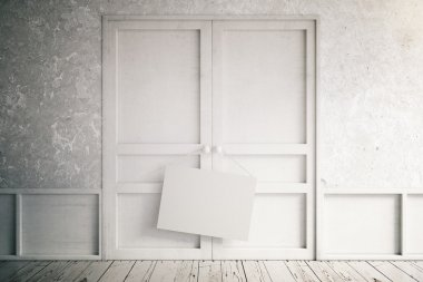 Empty interior with white doors and blank sign, mock up, 3d rend