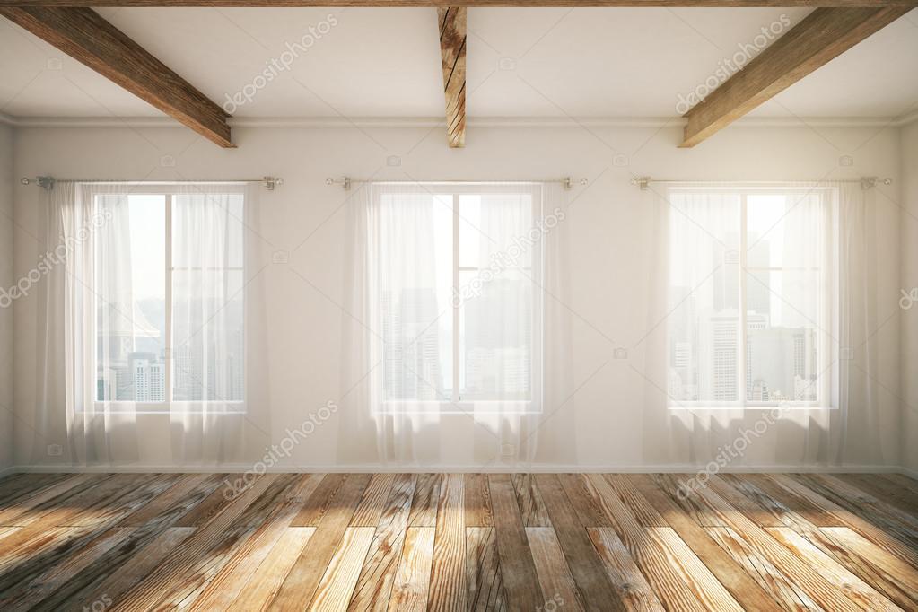 Tetőtéri belső windows, barna parketta és függönyök — Stock Fotó ...