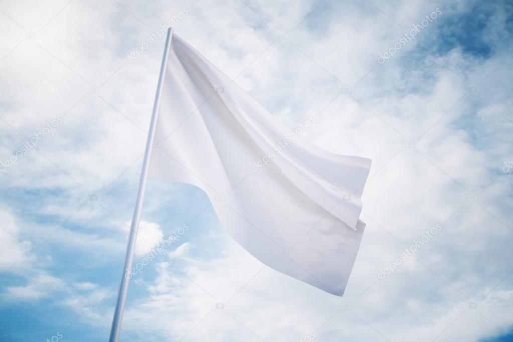 Waving white flag on a sky background, mock up