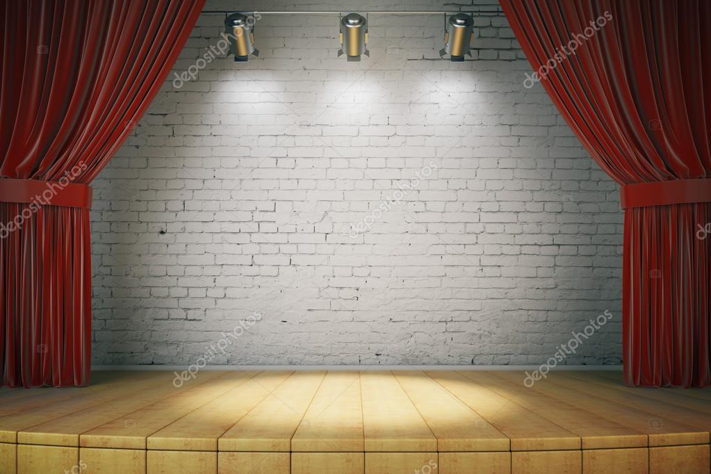 escenario de madera con cortinas rojas y una pared de ladrillo blanco con spotl u fotos