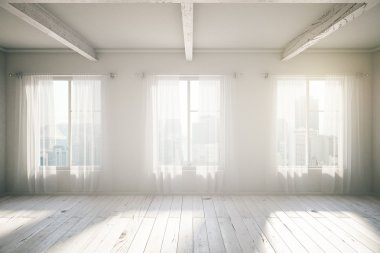 White room loft interior design with three windows, wooden floor, curtains and city view. 3D Render stock vector