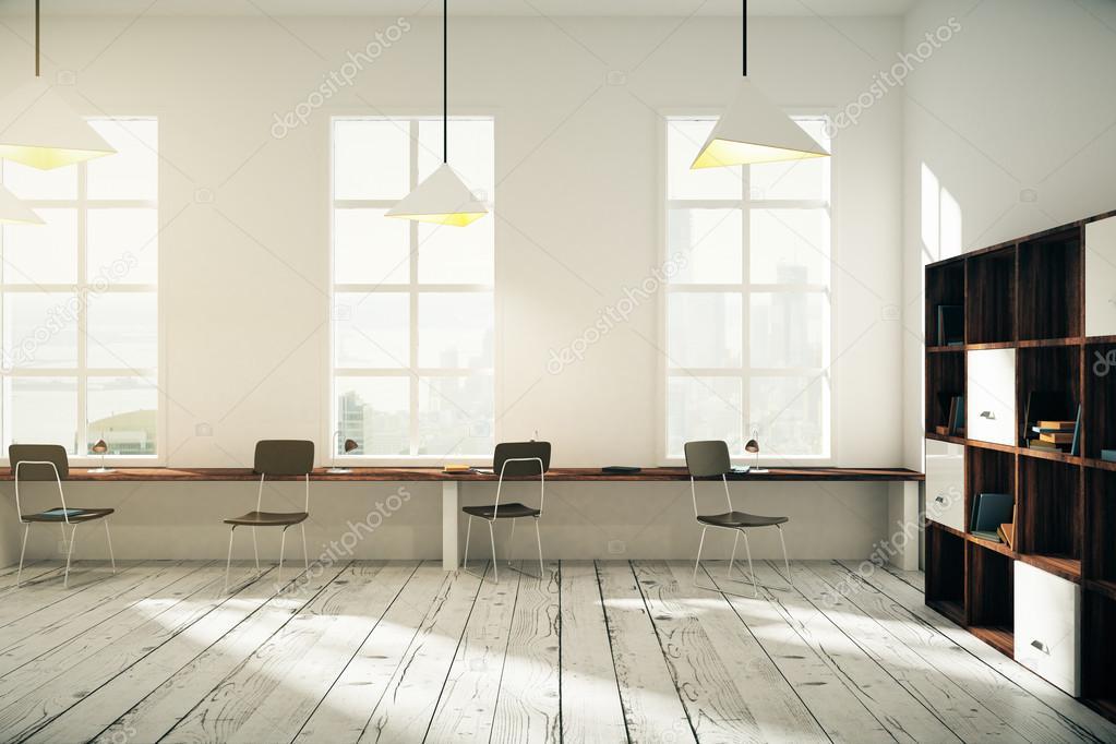 Coworking Buro Innenarchitektur Mit Windows Lampen Dunklen Holzstuhlen Bucherregale Und Hellen Holzboden Weiss 3D Render Foto Von Peshkova
