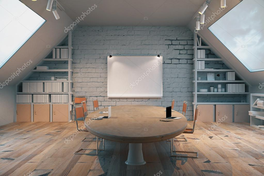 Dark Wooden Conference Room With Table, Chairs, Windows On Both Sides And A  Small Board On The Wall. 3D Render U2014 Photo By Peshkova
