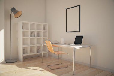 Office interior with bookshelves, workplace with blank frame above and lamp. 3D Render