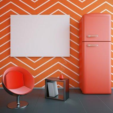 Red kitchen interior