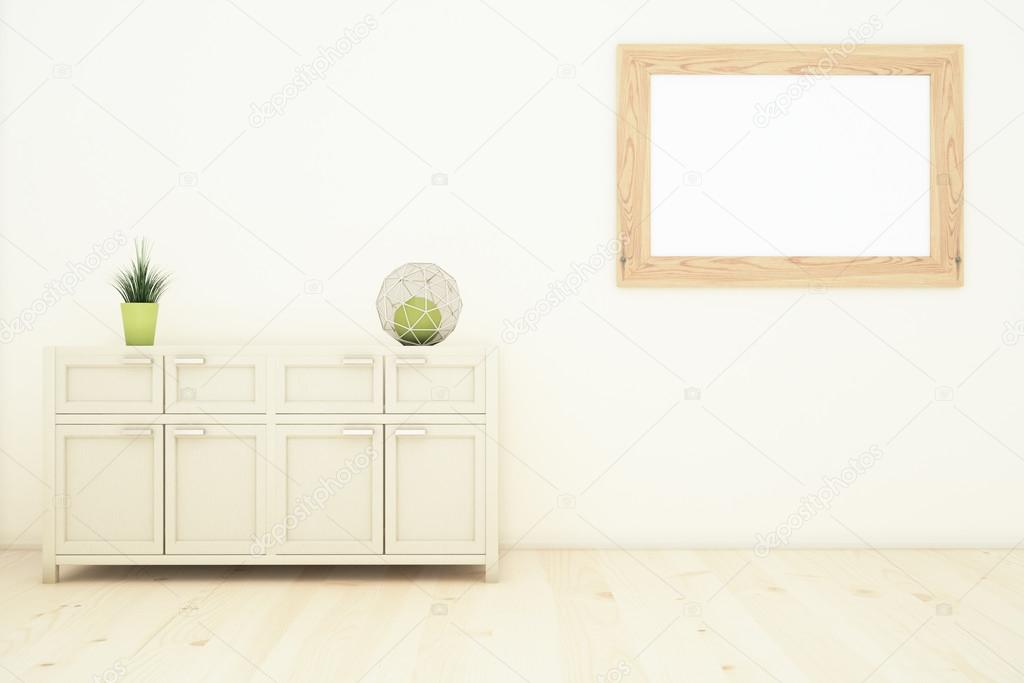 Innenraum mit Schrank und Rahmen — Stockfoto © peshkova #105932956