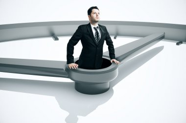 Time management drowning businessman