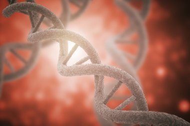 DNA closeup red background