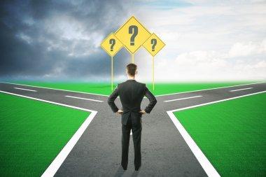 Different direction businessman choosing