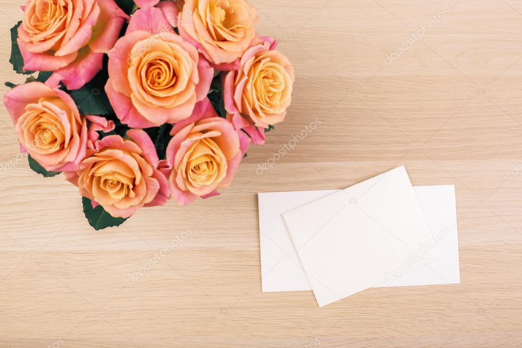 Roses and blank cards top