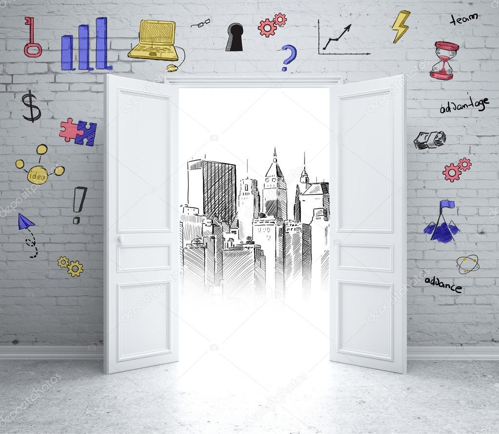 open door drawing. Open Door To Drawing City \u2014 Stock Photo
