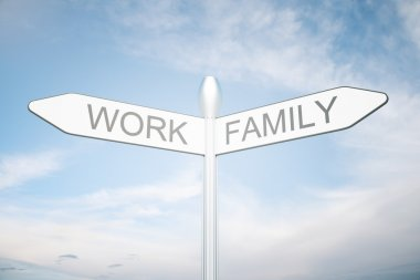 Balance your life and choice concept with signpost directing to family and work on clear sky background. 3D Rendering