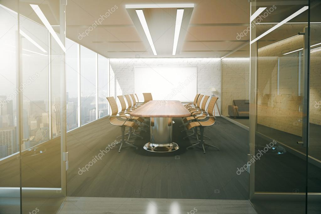 Open Glass Door Revealing Modern Conference Room Interior With Ceiling  Lamps, Blank Whiteboard On Brick