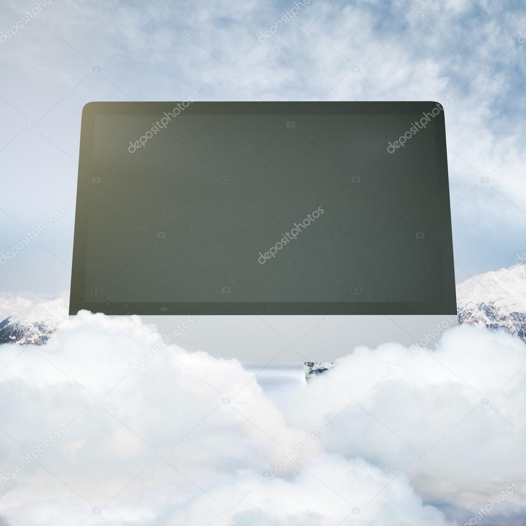 Computer screen on mountain top
