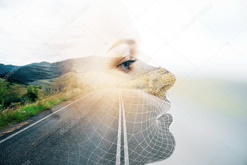 Thoughtful woman double exposure
