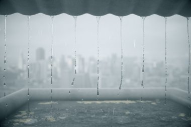 Rain dripping from roof