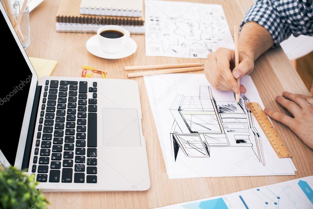 Architect Drawing Construction Sketch Stock Photo C Peshkova