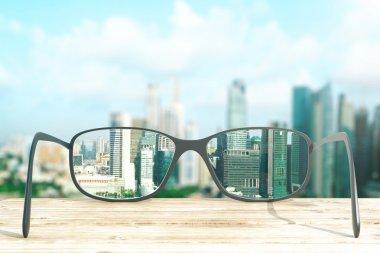 Cityscape focused in glasses lenses. 3D Rendering stock vector