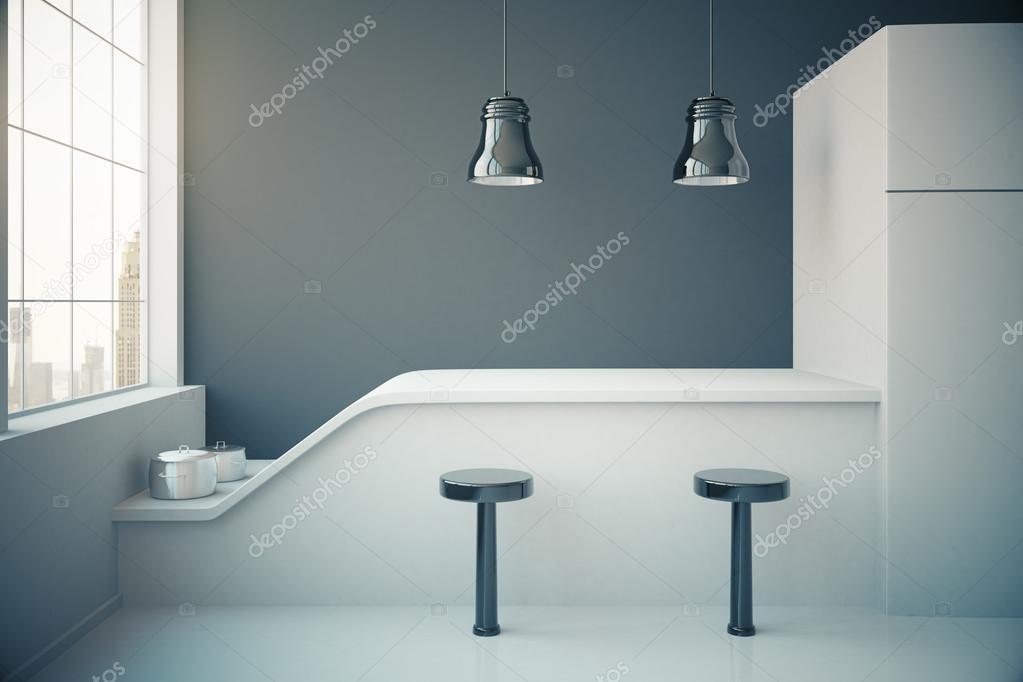 Interiore della cucina grigio scuro — Foto Stock © peshkova #117063322