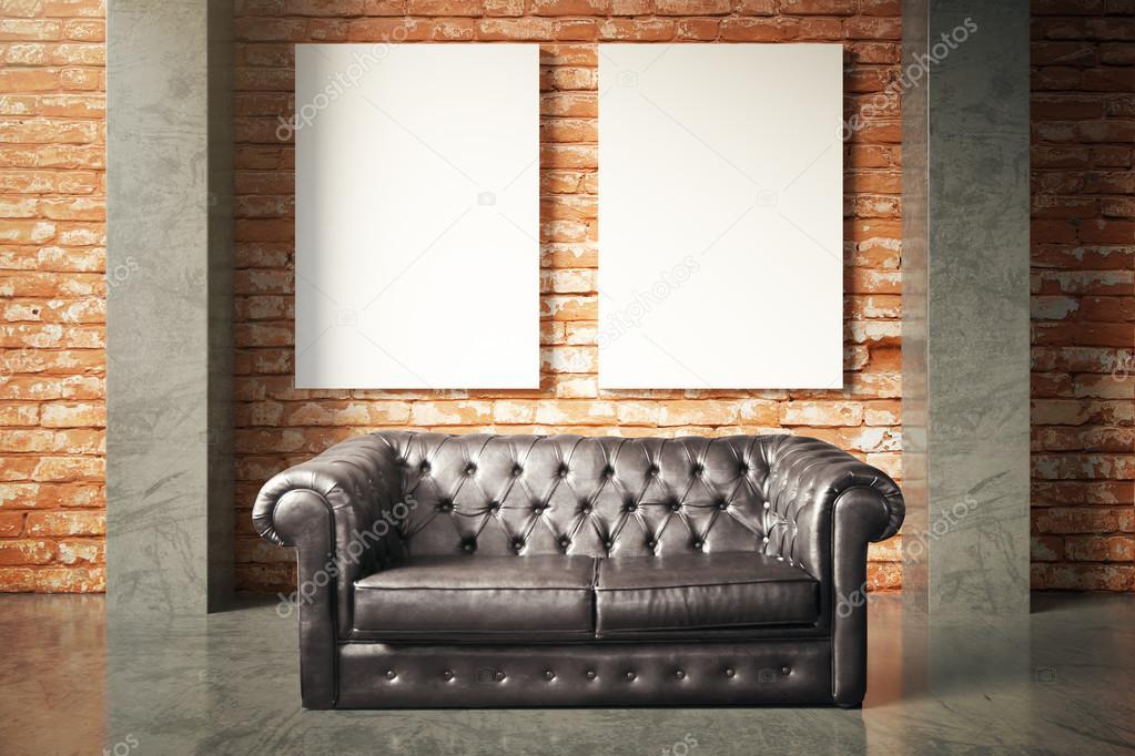 Wondrous Luxurious Sofa And Blank Poster Stock Photo C Peshkova Machost Co Dining Chair Design Ideas Machostcouk