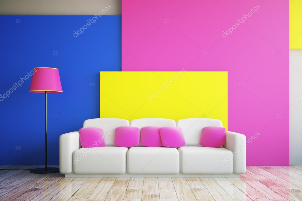Pink, blue and yellow room — Stock Photo © peshkova #117715244