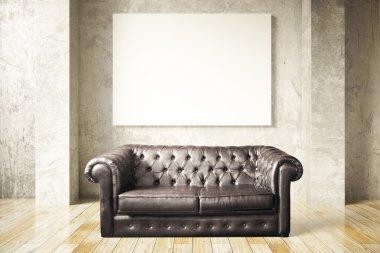 Sofa and blank billboard