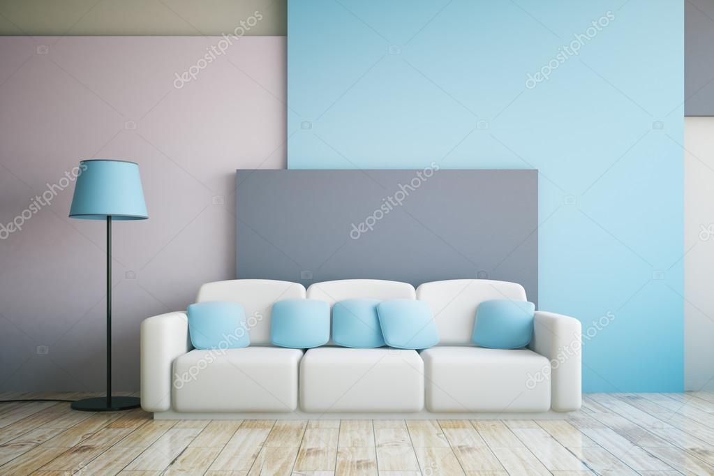 grijze en blauwe kamer interieur stockfoto
