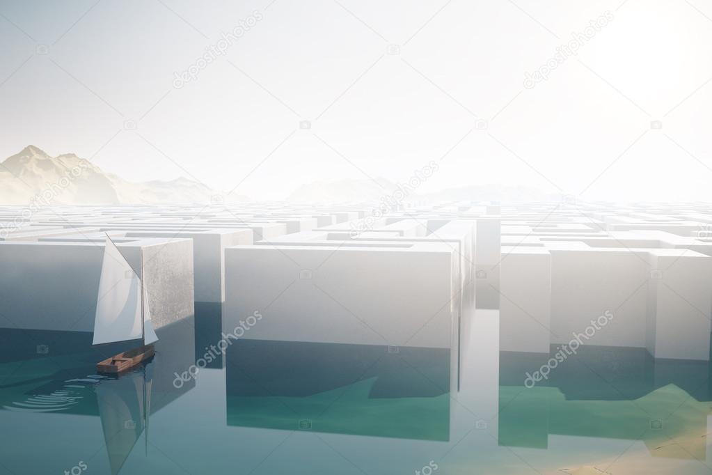 Sailing ship entering maze