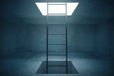 Escape ladder in concrete room. 3D Rendering
