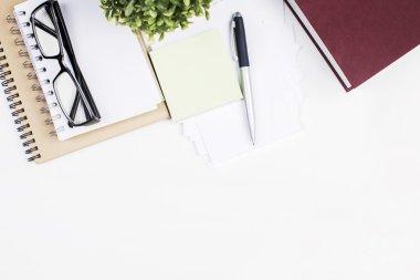 White desktop with supplies