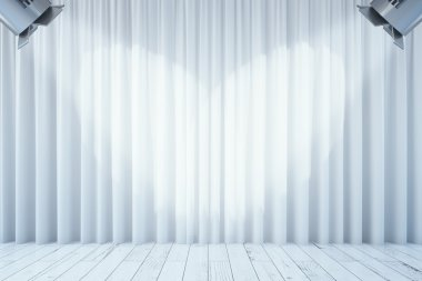 White curtains with two spotlights