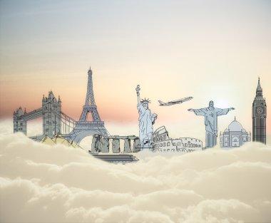 Landmark sketch on clouds