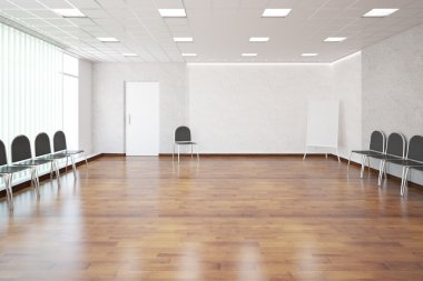 Interior with shiny wooden floor, concrete walls, patterned ceiling, white door, numerous chairs and empty whiteboard. presentation concept. 3D Rendering