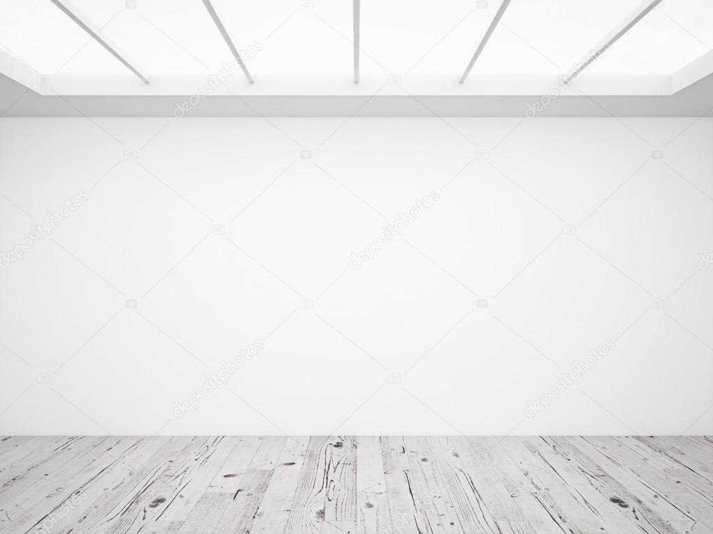 흰 콘크리트 벽과 다락방 나무 바닥 — 스톡 사진 © peshkova #95206330