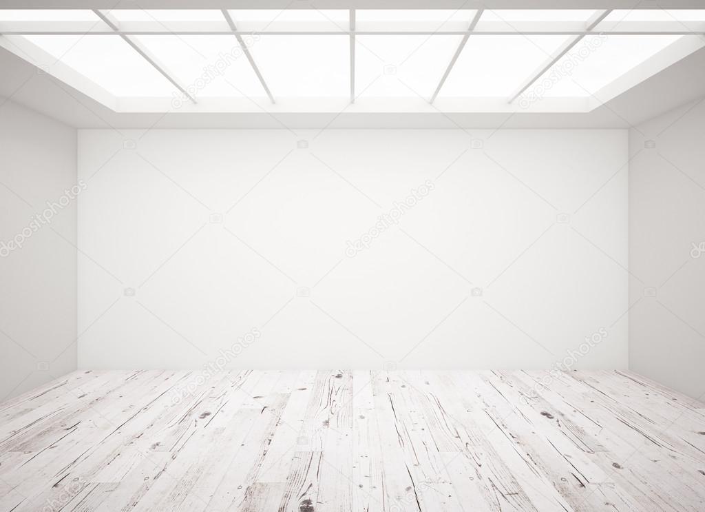 흰 콘크리트 벽과 다락방 나무 바닥 — 스톡 사진 © peshkova #96010602