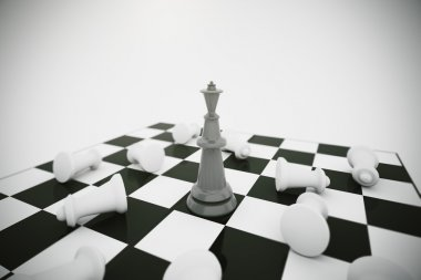 black king and white chess pieces losers