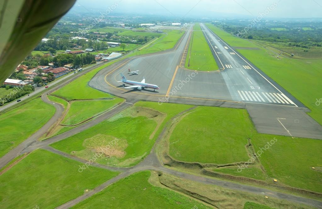 Aerial view of runway at Juan Santamaria International Airport, Costa Rica