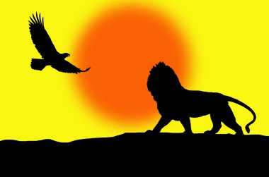 Lion and eagle illustration.