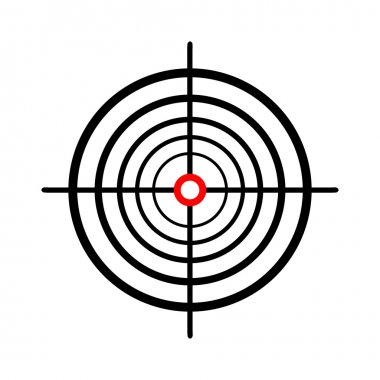 Illustration of a gun sight over a white background.