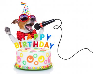 Jack russell dog  as a surprise, singing birthday song  like karaoke with microphone ,behind funny cake,  wearing  red tie and party hat  , isolated on white background stock vector