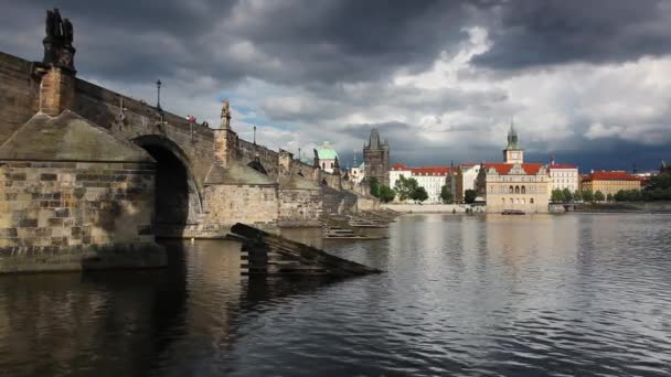 Famous Charles Bridge on Vltava river in Prague