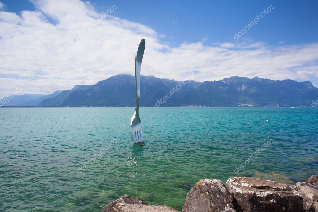 ジュネーブ湖、ヴェヴェイ、スイ...