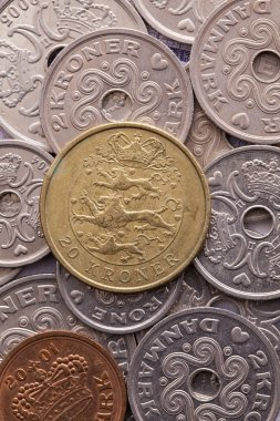 Different coins of Danish money