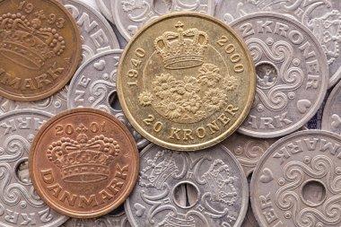 Different coins of Danish money