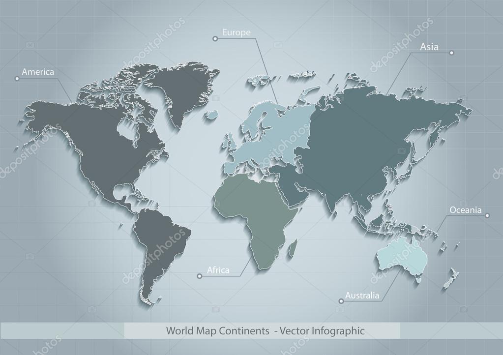 Vector de mundo mapa continentes azul individuo separar los vector de mundo mapa continentes azul individuo separar los continentes europa asia frica amrica gumiabroncs Images